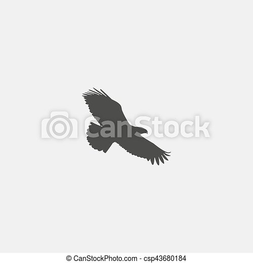 Eagle icon in a flat design in black color. Vector illustration eps10 - csp43680184