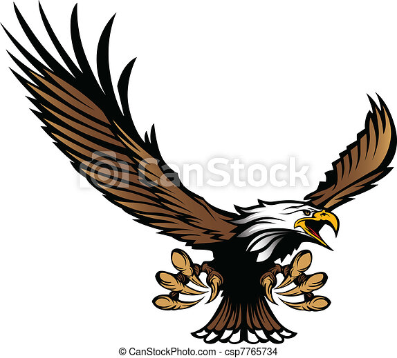 Eagle Mascot Flying with Talons - csp7765734