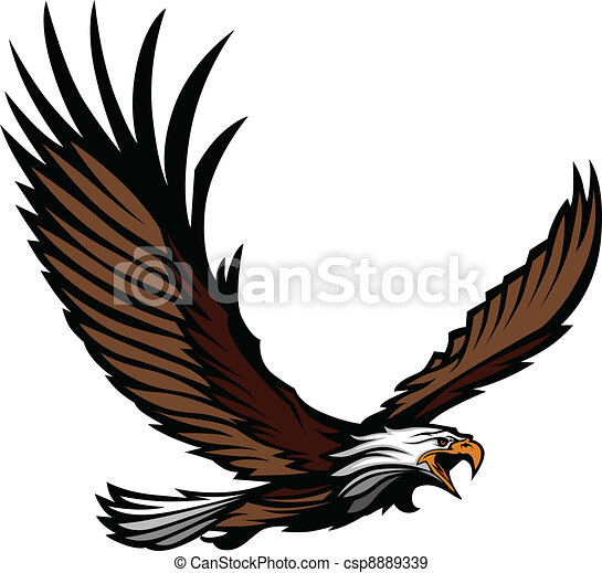 Eagle Mascot Flying with Wings - csp8889339