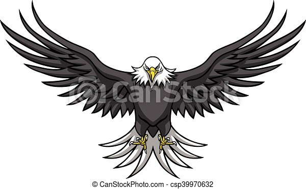 Eagle mascot spread the wings vector illustration.
