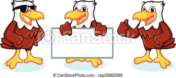 Eagle Mascot Vector happy - csp35862566