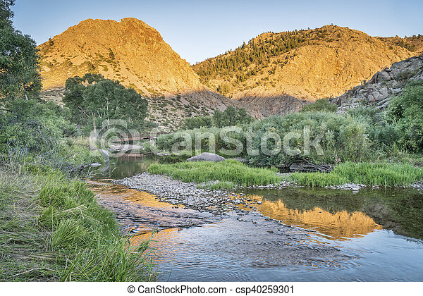 Eagle Nest Rock and Poudre RIver - csp40259301