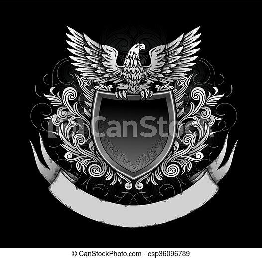 Eagle on Dark Shield Insignia - csp36096789