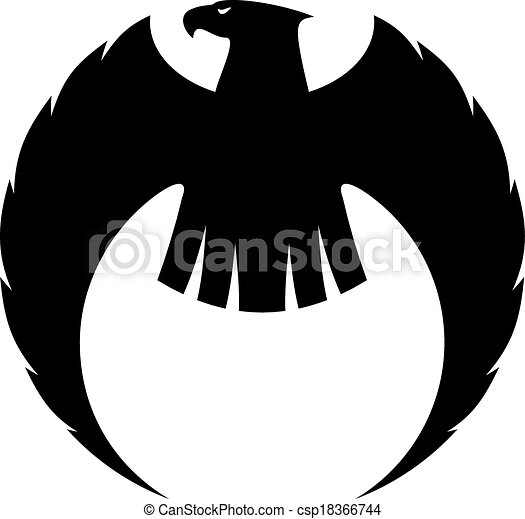 Eagle silhouette with long curved wings - csp18366744