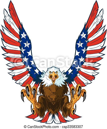 Eagle with American Flag Wings - csp33583307
