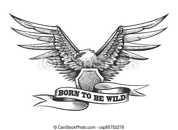 Eagle with Shield and ribbon Engraving Tattoo - csp85752276