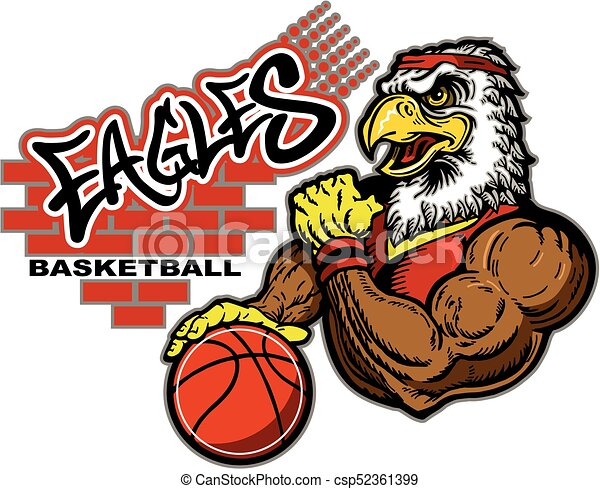 Graffiti Eagles Basketball Team Design With Mascot For School