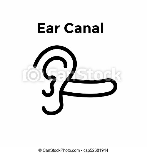 ear and ear canal outline icon image for hearing listening loss