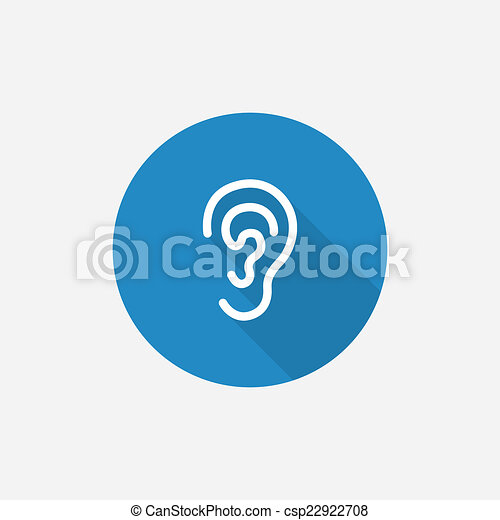 ear Flat Blue Simple Icon with long shadow - csp22922708