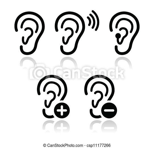 Ear hearing aid deaf problem icons  - csp11177266