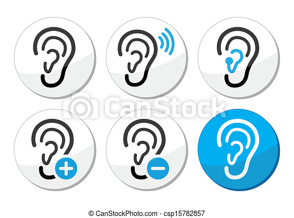 Ear hearing aid deaf problem icons  - csp15782857