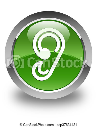 Ear icon glossy soft green round button - csp37631431