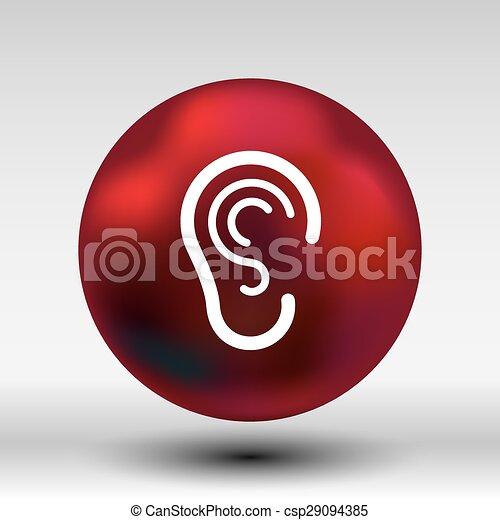 ear icon listen vector hear deaf human sign - csp29094385