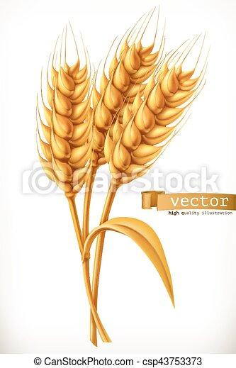 Ear of wheat. 3d vector icon - csp43753373