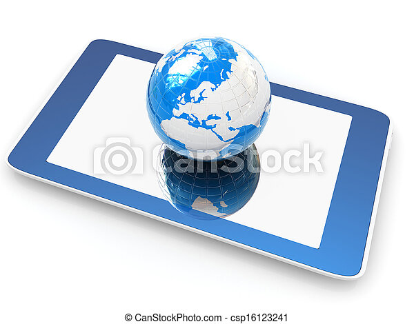 earch, internet, telefoon, globaal, achtergrond., concept, witte  - csp16123241