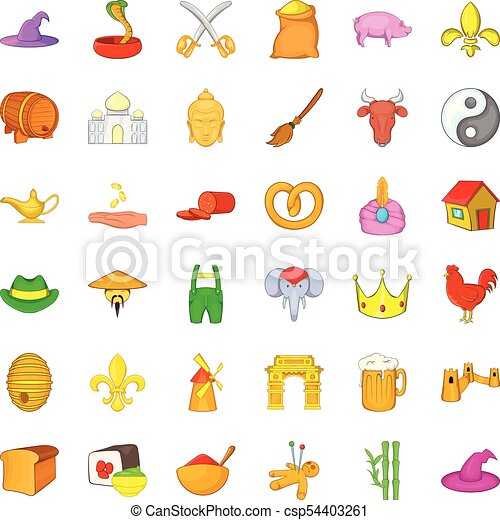 Earliest icons set, cartoon style - csp54403261