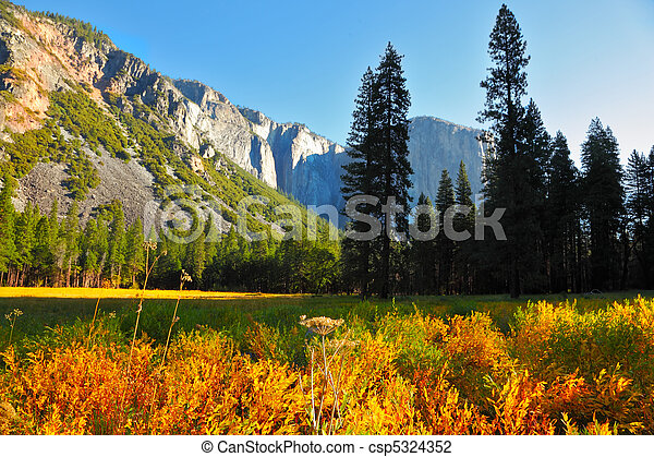 Early autumn  in valley of mountains - csp5324352