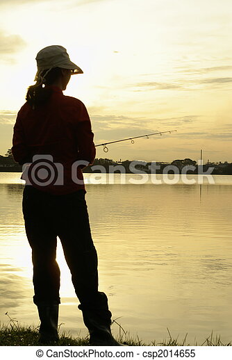 Early morning fishing lady - csp2014655