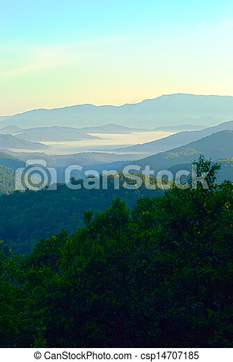 early morning on blue ridge parkway - csp14707185