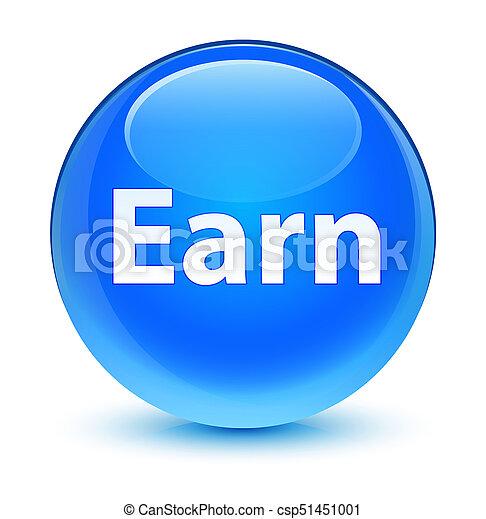 Earn glassy cyan blue round button - csp51451001