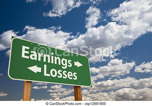Earnings, Losses Green Road Sign Over Clouds - csp12691800