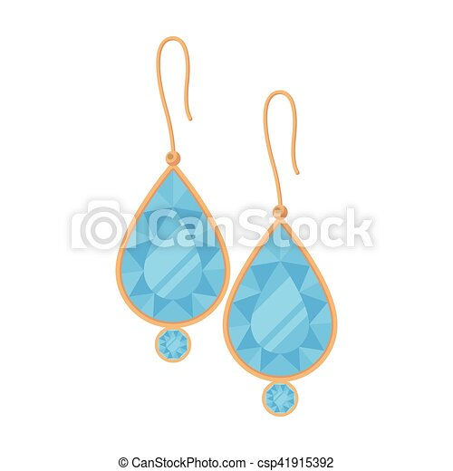 Earrings With Gems Icon In Cartoon Style Isolated On White Background Jewelry And Accessories Symbol Stock Vector Canstock