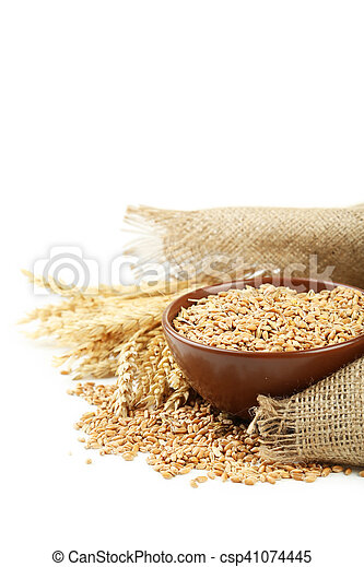 Ears of wheat and bowl of wheat grains on white background - csp41074445