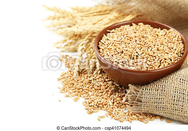 Ears of wheat and bowl of wheat grains on white background - csp41074494