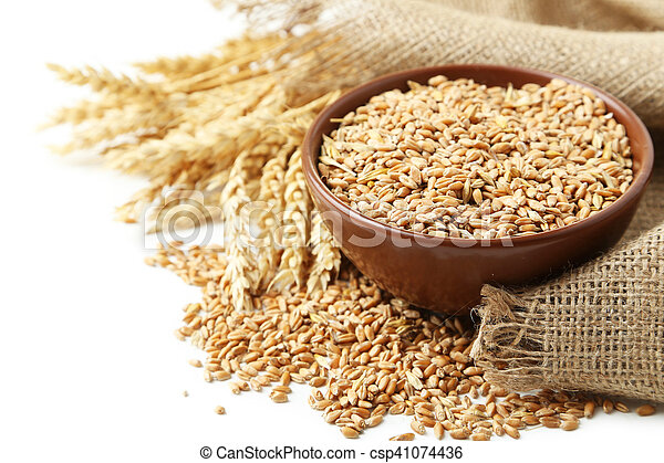 Ears of wheat and bowl of wheat grains on white background - csp41074436