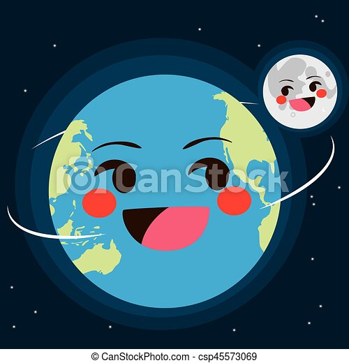 Earth And Moon - csp45573069