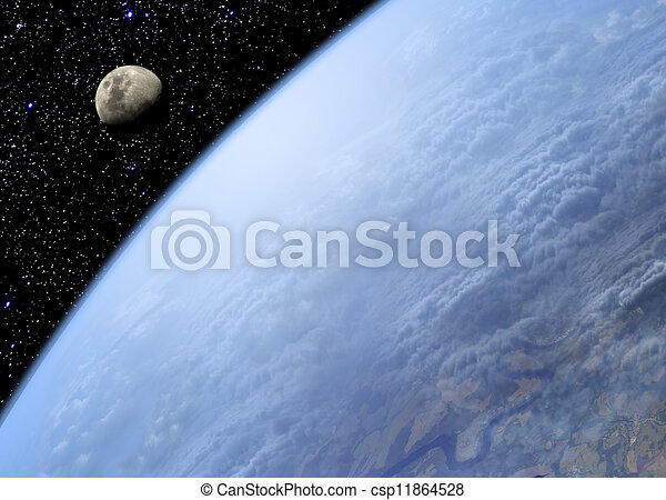 Earth and Moon - csp11864528
