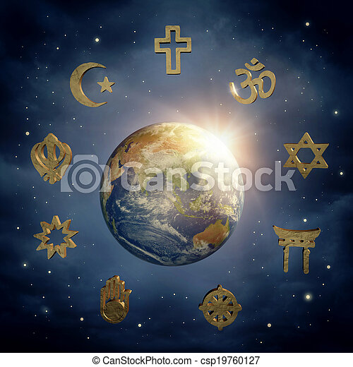 Earth and religious symbols - csp19760127
