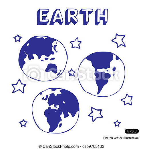 Earth and stars   - csp9705132