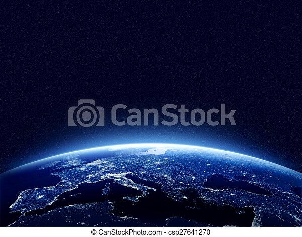Earth at night  - csp27641270