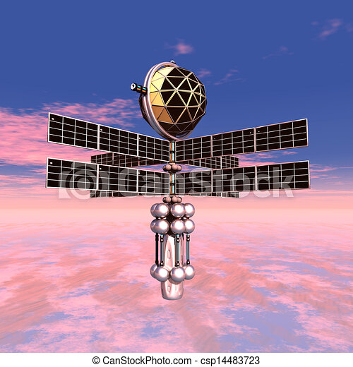 Earth atmosphere with space probe. Computer generated 3d ...