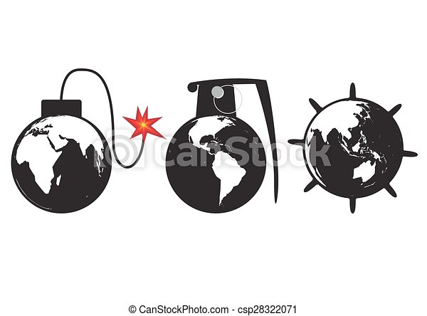 Line Art Earth : Earth bomb planet as a globe grenade and sea