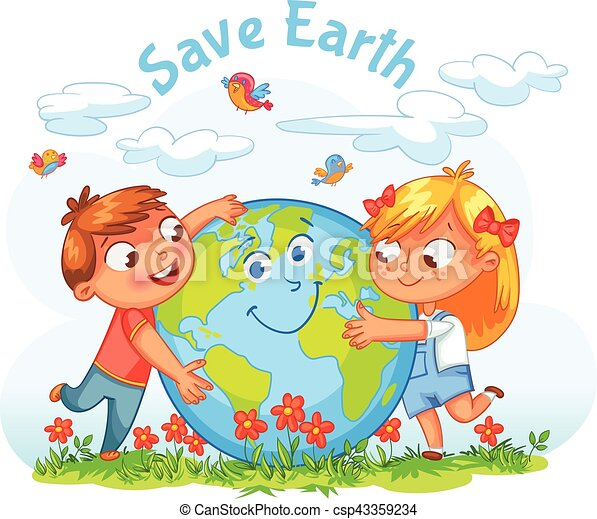 Save Earth April 22 Earth Day Boy And Girl Hugging The Globe