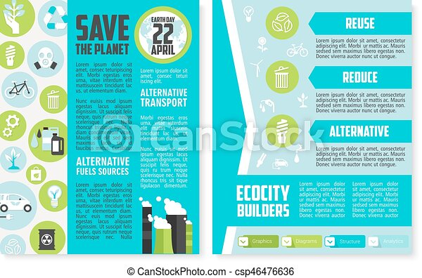 Earth Day Brochure Or Poster Template Design Earth Day Vectors