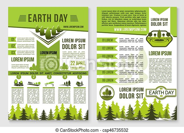 Earth Day Brochure Template For Ecology Design Earth Day