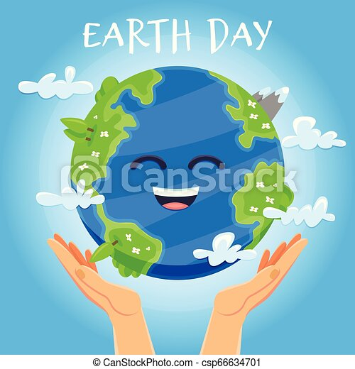 Earth day concept. Human hands holding floating globe in space. Save our planet. - csp66634701