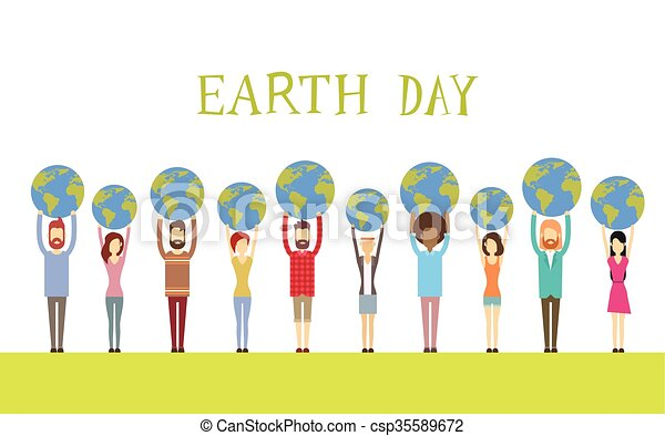 Earth Day Diverse People Group Hold Globe World - csp35589672