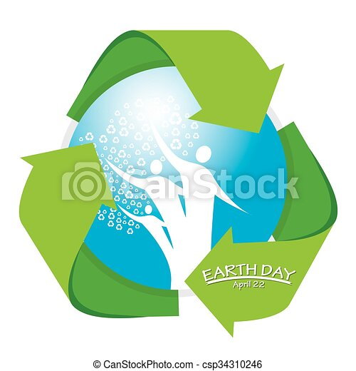 Isolated Blue Drop With The Recyclable Symbol For Earth Day
