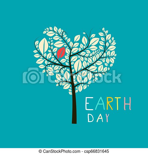 Earth Day Heart Shaped Tree Vector Flat Design Illustration - csp66831645