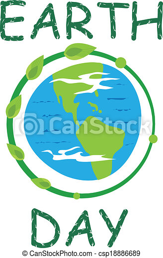 Earth Day Icon Earth Icon And The Word Earth Day In Green Eps10