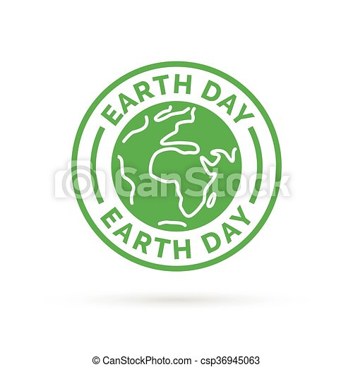 Earth Day Icon With Green World Environment Symbol Stamp Earth Day