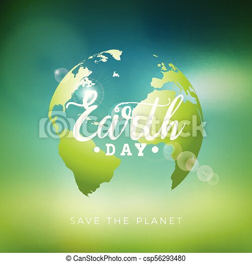 Earth day illustration with planet and lettering world map earth day illustration with planet and lettering world map background on april 22 environment gumiabroncs Images