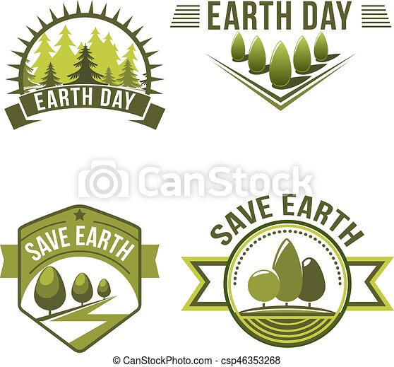 Earth Day Save Planet Ecology Symbol Set Green Nature Badge With