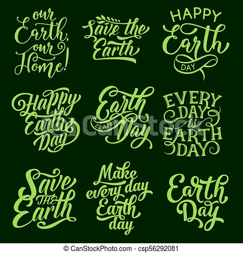 Earth Day Symbol For Ecology Holiday Design Earth Day Symbol Set