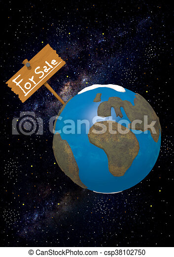 Earth for Sale on starry background - csp38102750