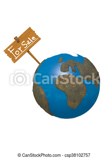 Earth for Sale on white background - csp38102757